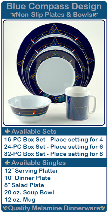 Blue Compass Design Non-Slip Plates and Bowls